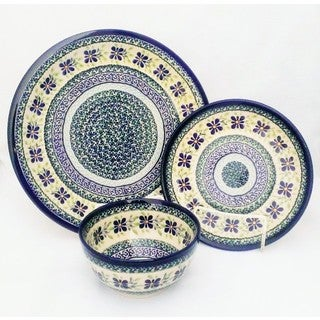 Dearest Friend Collection Blue/ Green Polish Stoneware 3-piece Dinnerware Set (Poland)
