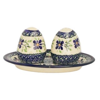 Blue/ Green Polish Stoneware Salt and Pepper Shakers (Poland)