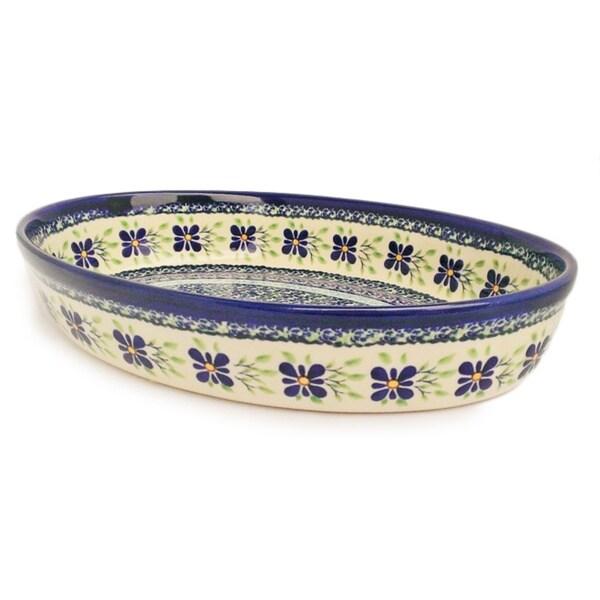 Handmade Blue/ Green Polish Stoneware Oval Baker Dish (Poland) 13787880