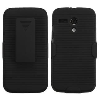 BasAcc Black Rubberized Dust Proof Hybrid Case Holster for Motorola Moto G