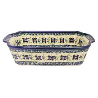 Blue/ Green Floral Polish Stoneware Loaf Pan (Poland)