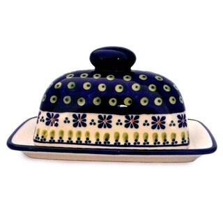Blue/ Green Polish Stoneware Butter Dish (Poland)