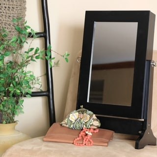 Baxton Studio Crystal Mirrored Jewelry Cabinet in Black