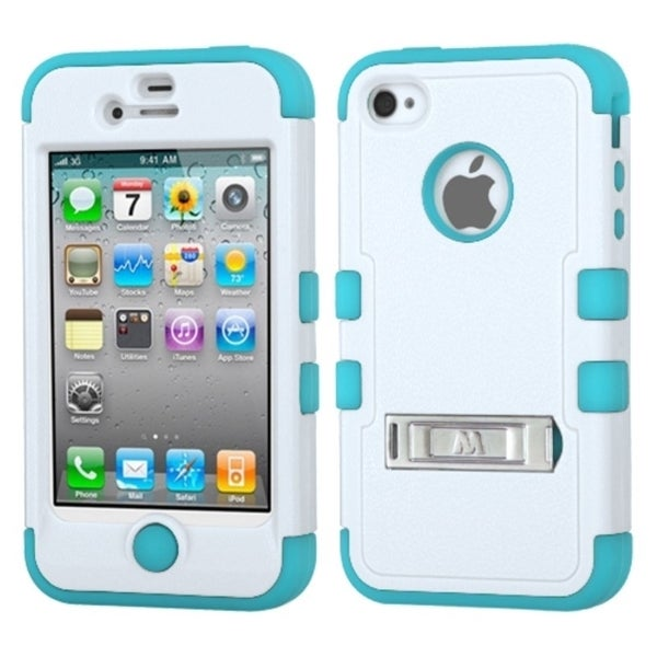 INSTEN Rugged Shock Proof Stand PC Soft Silicone Hybrid Phone Case Cover for Apple iPhone 4/ 4S
