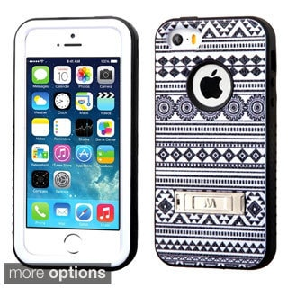 INSTEN Rugged Shock Proof Stand PC Soft Silicone Hybrid Phone Case Cover for Apple iPhone 5/ 5S