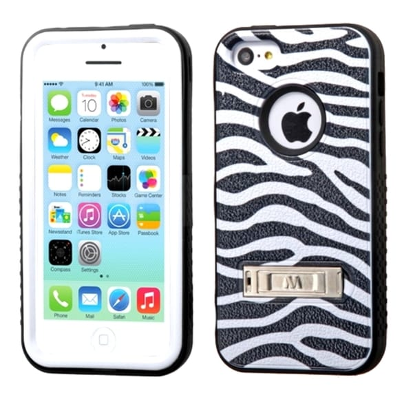 INSTEN Rugged Shock Proof Stand PC Soft Silicone Hybrid Phone Case Cover for Apple iPhone 5C