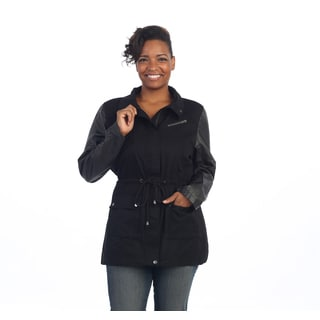 Hadari Women's Plus Size Black Leatherette-sleeve Jacket