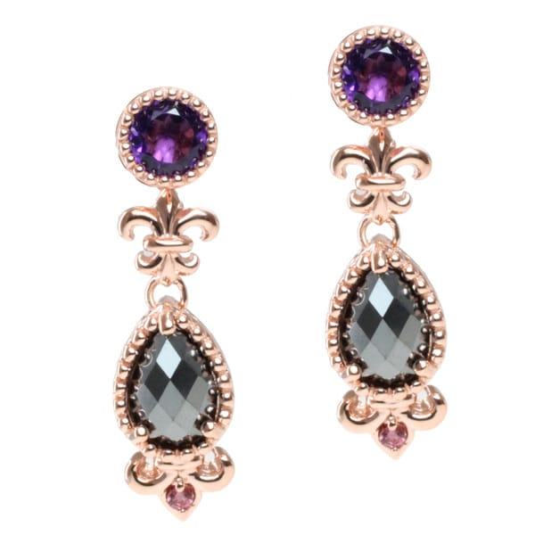 Dallas Prince Rose Gold Over Silver Amethyst Earrings with Removeable Hematite and Pink Tourmaline Drops