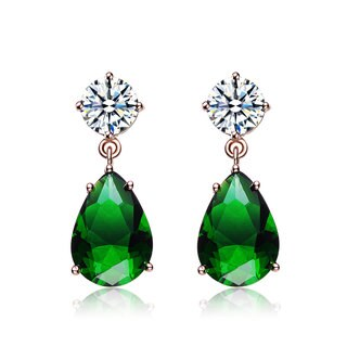 Collette Z Rose Goldplated Sterling Silver Green and White Cubic Zirconia Pear Drop Earrings