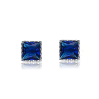 Collette Z Sterling Silver Cubic Zirconia Blue Cubic Zirconia Square Stud Style Earrings