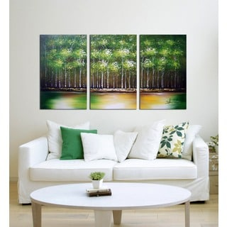 Hand-painted 'The Green Shower' 3-piece Gallery-wrapped Canvas Art Set