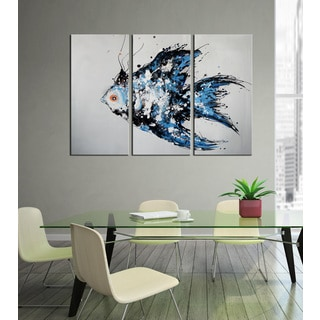 Hand-painted 'Happy Fish' 3-piece Gallery-wrapped Canvas Art Set