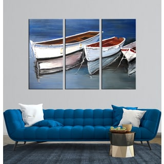 Hand-painted 'The Glistening Pond ' 3-piece Gallery-wrapped Canvas Art Set