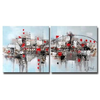Hand-painted 'Into the Realm' 2-piece Gallery-wrapped Canvas Art Set