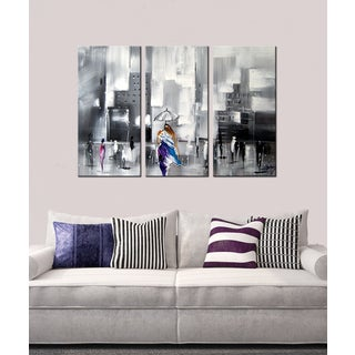 Hand-painted 'After the Rain' 3-piece Gallery-wrapped Canvas Art Set