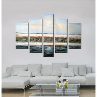 Hand-painted 'Endless Blue Sky' 5-piece Gallery-wrapped Canvas Art Set