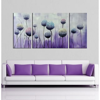 Hand-painted 'Blossom on the Wind' 3-piece Gallery-wrapped Canvas Art Set