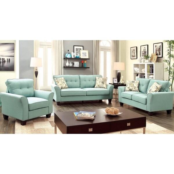 Furniture of America Primavera Modern 3 Piece Linen Sofa