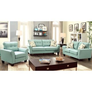Furniture of America Primavera Modern 3-Piece Linen Sofa Set