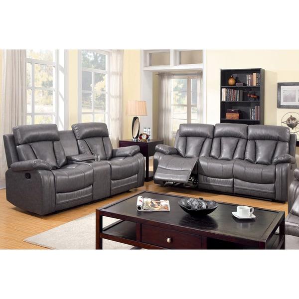 Furniture of america hurshel grey 2 piece faux leather for Gray leather sofa set