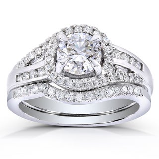 Annello 14k White Gold 1 1/5ct TDW Round-cut Halo Diamond Bridal Ring Set (H-I, I1-I2)