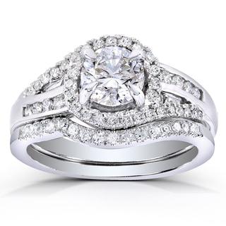 Annello 14k White Gold 1 1/5ct TDW Round-cut Halo Diamond Bridal Ring Set (H-I, I1-I2)