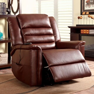 Furniture of America Bronco Brown Bonded Leather Stand-Assist Recliner