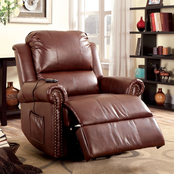 Furniture of America Emmantel Brown Faux Leather Power Assist Recliner