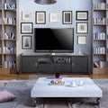 Furniture of America Trensin Modern Black 70-inch Entertainment TV Console