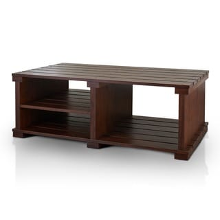 Furniture of America Torplank Country Style Planked 3-Shelf Coffee Table