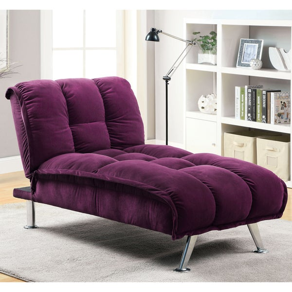 Furniture of America Maybeline Modern Flannelette Chaise