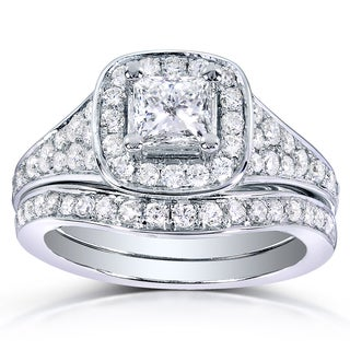 Annello 14k White Gold 1 1/5ct TDW Princess-cut Diamond Bridal Ring Set (H-I, I1-I2)