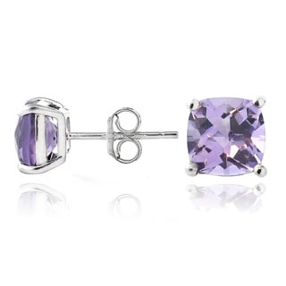 Glitzy Rocks Sterling Silver Amethyst Cushion-cut Stud Earrings