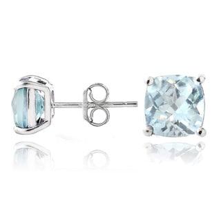 Glitzy Rocks Sterling Silver Blue Topaz Cushion-cut Stud Earrings