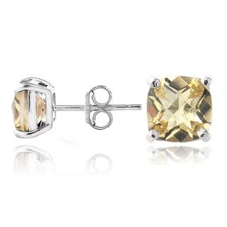 Glitzy Rocks Sterling Silver Citrine Cushion-cut Stud Earrings