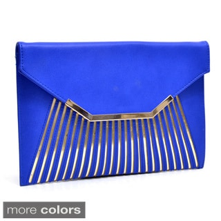 Dasein Matte Fold-over Envelope Clutch with Removable Shoulder Strap