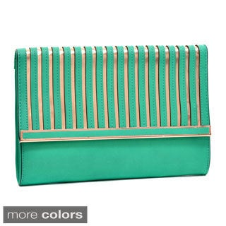 Dasein Matte Goldtone-stripes Fold-over Clutch