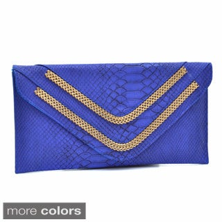Dasein Faux Snakeskin Fold-over Clutch with Removable Chain Strap