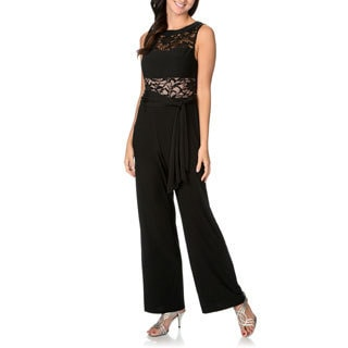 R & M Richards Women's Sequin-embellished Lace Jumpsuit