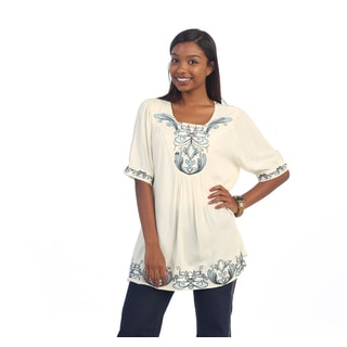 Hadari Women's Ivory and Blue Embroidered Blouse