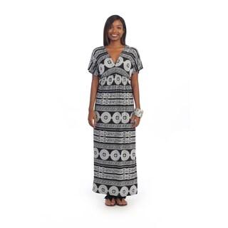 Hadari Women's Black and White Empire Waist Maxi Dress