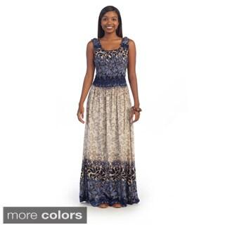 Hadari Women's Printed Scrunch Maxi Dress