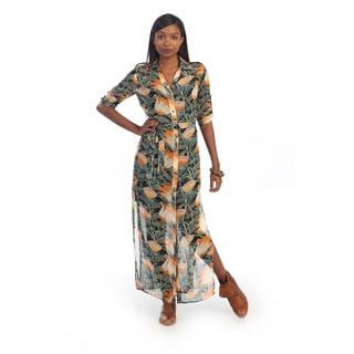 Hadari Women's Tropical Print Button-down Maxi Dress