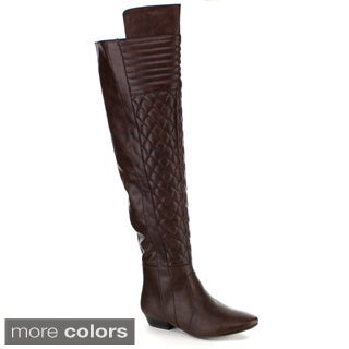Yoki Women's 'Lenny-10' Quilted Over-the-Knee Riding Boots