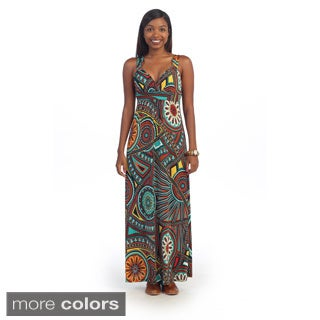 Hadari Women's Medallion Print Sweetheart Maxi Dress