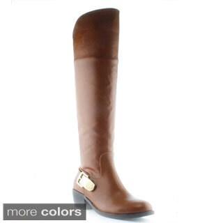 DbDk Women's Ealin-1 Elastic-back Buckle Emblem Knee-high Riding Boots