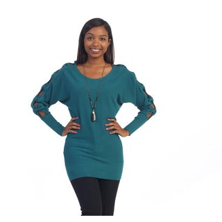 Hadari's Women's Teal Cut-out Sleeve Sweater