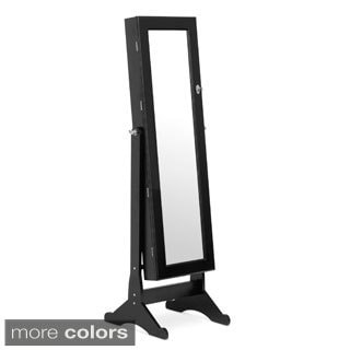 Baxton Studio Ave Black Dressing Mirror with Integrated Jewelry Cabinet and Stationary Base