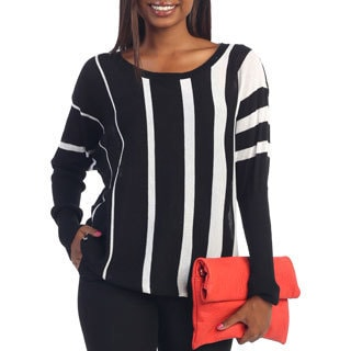 Hadari Women's Black/ White Vertical Striped Long Sleeve Top