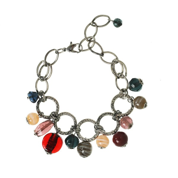 Hematite Multi-colored Glass Bead Charm Bracelet